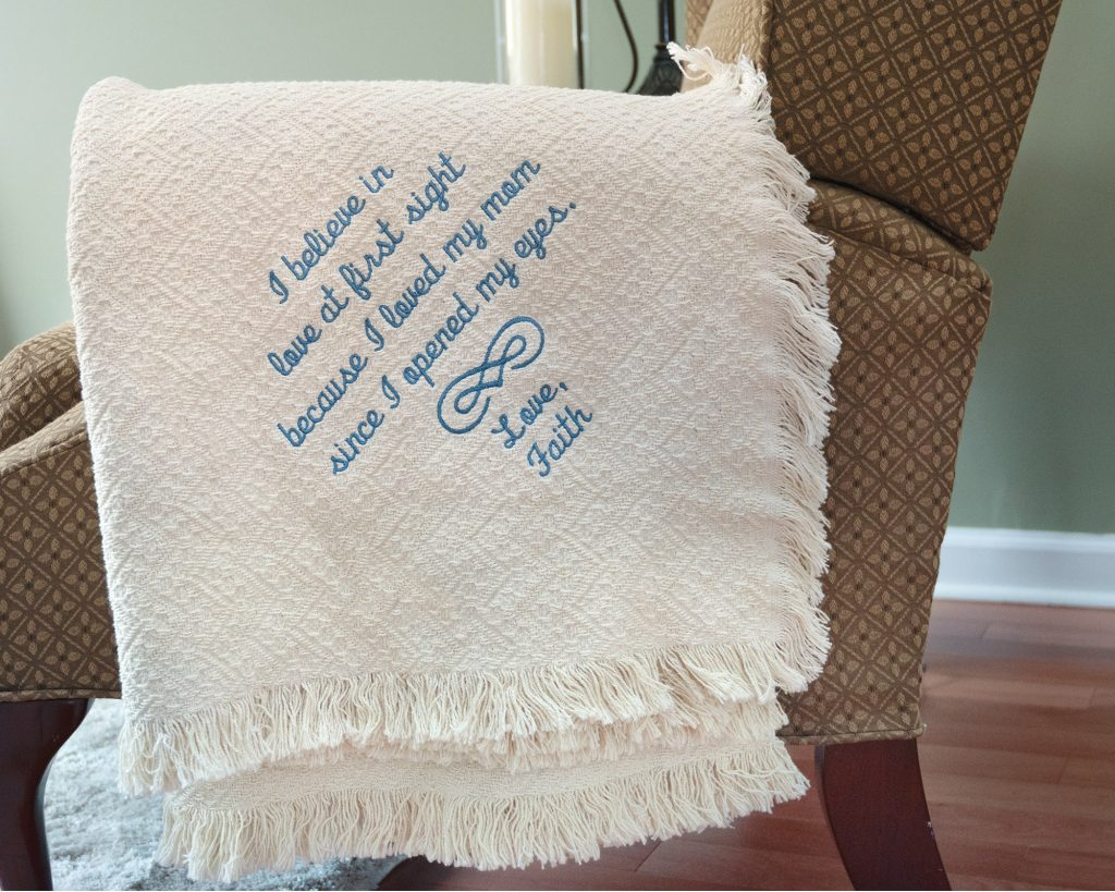 mother's day gift custom cotton throw personalized from son and daughter